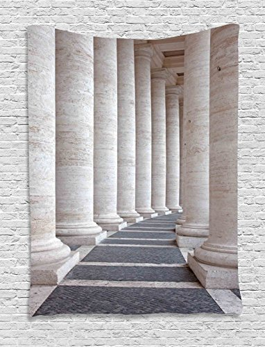 Ambesonne Pillar Tapestry, Ancient Theme Roman Columns Stone Pillars Old Architecture Theme Digital Image, Wall Hanging for Bedroom Living Room Dorm, 40 W X 60 L Inches, Dust Grey