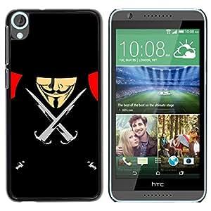 TopCaseStore / la caja del caucho duro de la cubierta de protección de la piel - Vendetta Anonymous Anon Black Freedom - HTC Desire 820