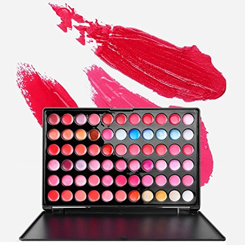 (FantasyDay Pro Matte 66 Colors Cream Non-Sticky Lip Gloss Makeup Palette Lipgloss Cosmetic Set Lip Contouring Kit)