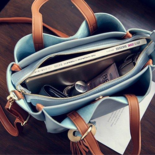 Sacchetti eleganti della borsa della maniglia della borsa di Yoome della nappa di colore per il sacchetto del sacchetto di trucco delle donne - azzurro