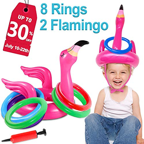 2 Pack Inflatable Flamingo Ring Toss Game Pool Party Toy for Kids, 8 Pieces Inflatable Rings for Pool Beach Luau Party Supplies, Lawn Games for Kids Adults Family Reunion or Summer Get-Together -
