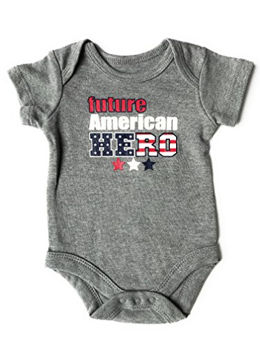 Assorted Flag Independence Day 4th of July Baby Girls & Boys Bodysuit (Newborn, Future American HERO)