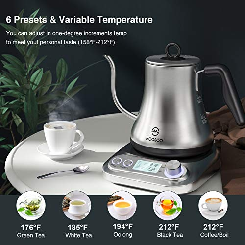 MOOSOO Electric Gooseneck Kettle with Variable Temperature Control & Presets, Pour Over Coffee/Tea Kettle, 100% Stainless Steel Inner Lid & Bottom, 1000W Rapid Heating, 0.8L (stainless steel)