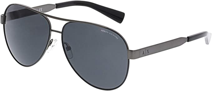 22941f7a01d Armani Exchange Men s 0ax2018s Non-Polarized Iridium Aviator Sunglasses  matte gunmetal black 55.3 mm