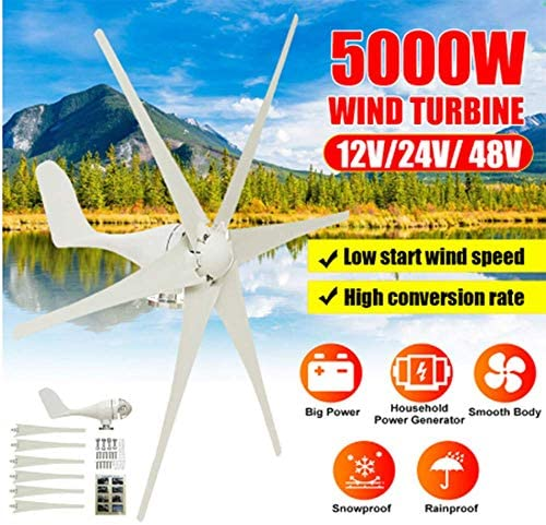 SISHUINIANHUA 5000W 12V / 24V / 48V 6 Nylon-Faser-Blatt-Wind-Turbinen-Generator Horizontal Energie Windrad Energie Turbines Lade Fit Für Heim,48v