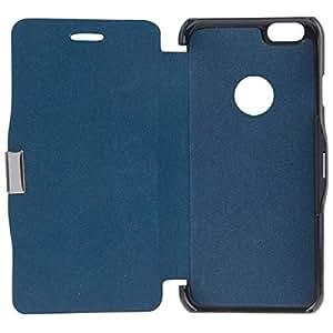 Cepillo textura Horizontal del tirón magnético botón funda de cuero para iPhone 6(Dark Blue)
