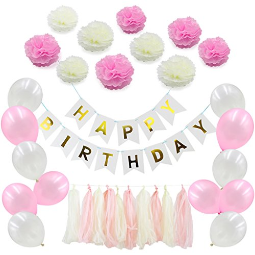 Sixinu 41pcs Happy Birthday Banner Tissue Paper Balloon Tassel Garland Party Decoration
