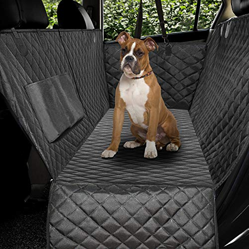 Honest Luxury Quilted Dog Car Seat Covers with Side Flap Pet Backseat Cover for Cars, Trucks, and Suv's - Waterproof & Nonslip Diamond Pattern Dog Seat Cover Black Large (57''Wx60''L)