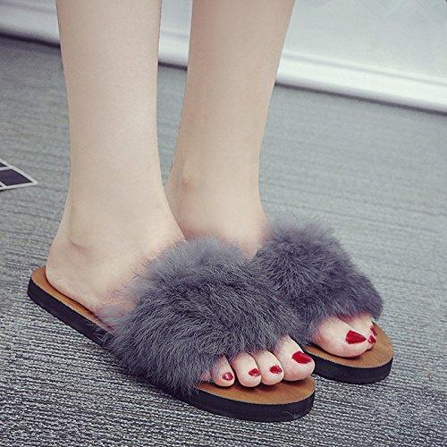 Arrastrar De Soltar Primavera Zapatillas Mujer Palabra Mujer Fresca Plano La Planas GAOLIM Y Gris Zapatos Para Permanecer La En Zapatillas Pantuflas Calzado qaIAwFSE