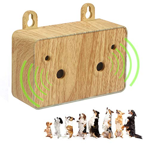 YC° Dog Barking Control Device, Ultrasonic Bark Deterrent Automatic Manual 2 in 1 Rechargeable Dog Behavior Training Tool 100% Safe to use (Light Wood)