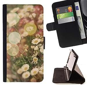 - summer sun vignette field daisy flower - - Prima caja de la PU billetera de cuero con ranuras para tarjetas, efectivo desmontable correa para l Funny HouseFOR Samsung Galaxy A3
