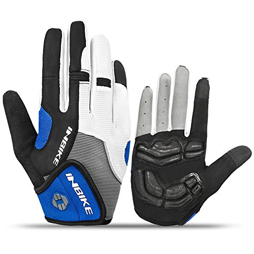 INBIKE Cycling Gloves Men, 5mm Gel Pad Touch Screen Full Finger Biking Gloves MTB Outdoor Blue Large