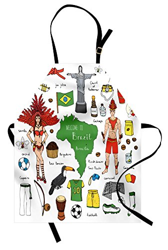 Brazilian Costumes Samba (Modern Apron by Ambesonne, Brazilian Symbols Rio Carnival Samba Dancer Flag the Redeemer Statue Print, Unisex Kitchen Bib Apron with Adjustable Neck for Cooking Baking Gardening, Multicolor)