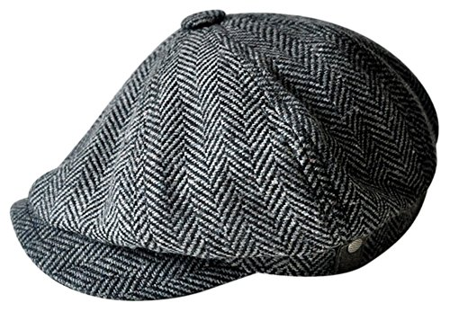 MINAKOLIFE Mens Vintage Style 'Shelby' Cloth Cap Hat Twill Cabbie Hat Gatsby Ivy Cap Irish Hunting Newsboy Stretch (58-59cm, Black)