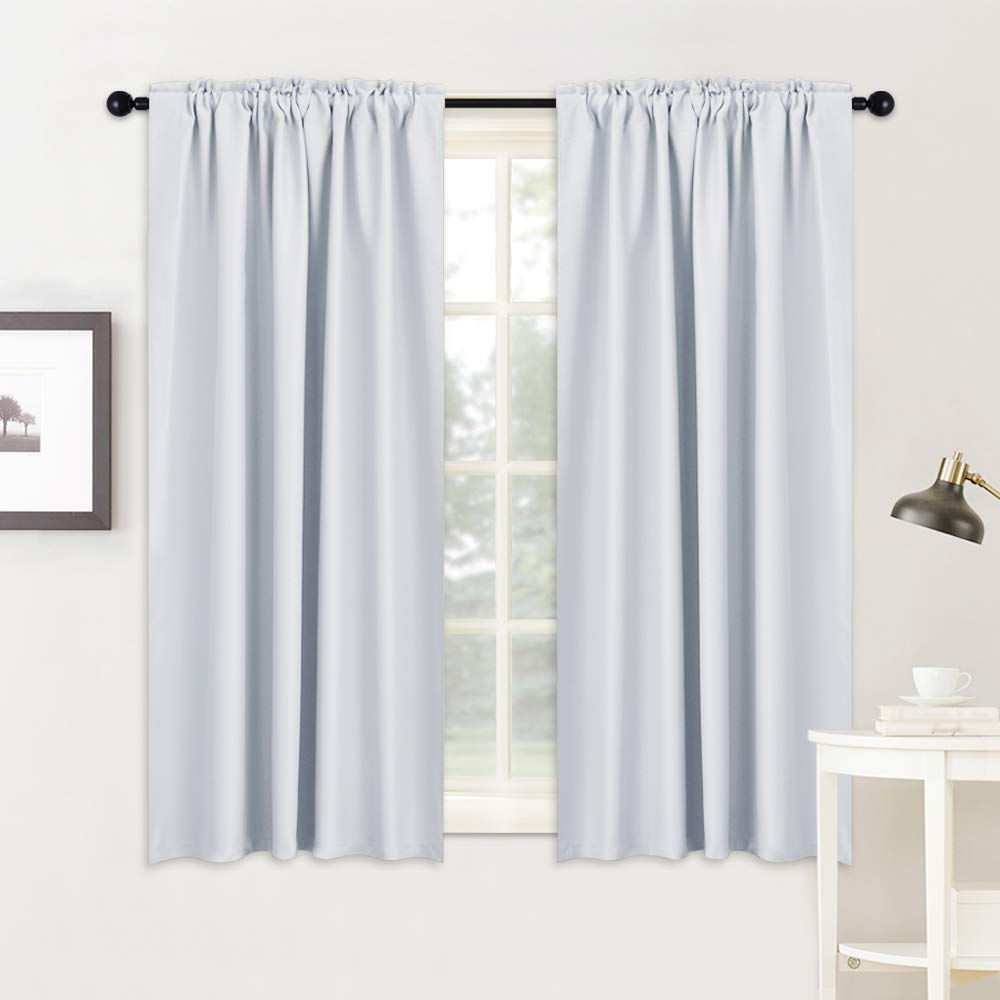 RYB HOME Curtains Drapes Thermal Insulated Panels (42'' x 45'', Grayish White, Double Pieces) Back Tab & Rod Pocket Used with Curtain Rod/Hooks Blackout Curtains for Living Room Window Dressing by RYB HOME (Image #4)