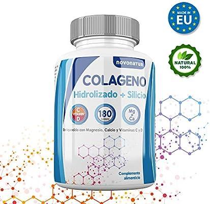 Colageno hidrolizado con magnesio, calcio, vitamina C y D, mas Silicio, protege huesos, articulaciones, piel, uñas y cabello, 180 comprimidos, ...