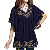 Ashir Aley New Floral Embroidered Butterfly Sleeve Wrap Ruffled Peasant Tops Blouse(S,Navy Blue)