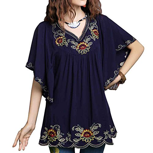 Ashir Aley New Floral Embroidered Flowy Sleeve Wrap Ruffled Peasant Tops Blouse(XL,Navy ()