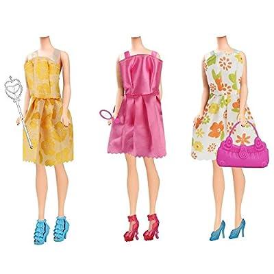 Barbie Clothes 58Pcs Princess Dress Accessories Shoes Clothes For Barbie Doll Include 10 Pcs Barbie Clothes And 48 Pcs Accessories: Toys & Games