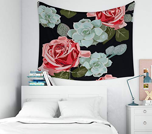(KIOAO Boho Throw Blankets,80X60 Inches Watercolor Succulents and Red Roses Pattern Vintage Wallpaper with Rose Hip and Succulents Dorm Home Bedroom Living Room Art Wall Tapestries)