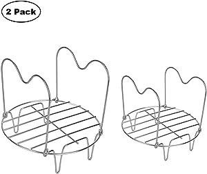 Steamer Rack, Kilisa Steamer Rack Trivet with Handles, 2 Pcs Compatible with Instant Pot 5 Qt 6 Qt 8 Quart, Pressure Cooker Trivet Wire Steam Rack, Great for Lifting out Whatever Delicious Meats