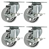 4 All Steel Swivel Plate Caster Wheels w Brake Lock Heavy Duty High-Gauge Steel Gray (3'' with Brake)