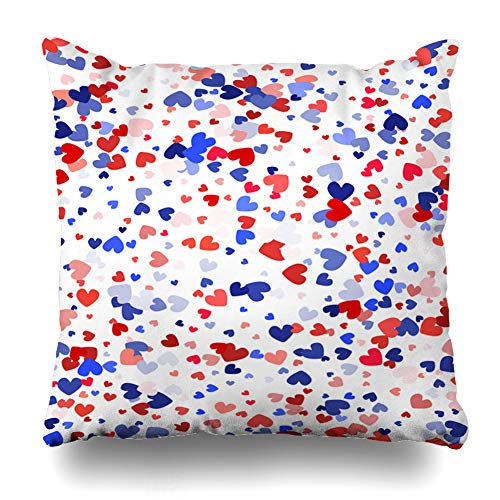 Ahawoso Throw Pillow Cover Love Blue Patriotic USA Patriot Day Hearts Holidays Modern American Red Border Celebration Chaotic Home Decor Pillow Case Square Size 18 x 18 Inches Zippered Pillowcase