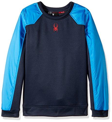 Spyder Boys Hybrid Pullover Long Sleeve Sweatshirt, French Blue/Frontier, Medium