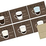72 Note Cards - Espresso Collection - Blank Cards - Kraft Envelopes Included