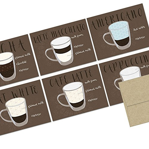 72 Note Cards  Espresso Collection  Blank Cards  Kraft Envelopes Included