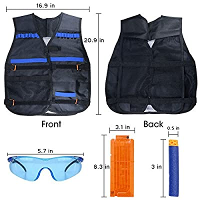Kids Tactical Vest for Nerf Guns N-Strike Elite Series with Refill Darts, Reload Clips, Skeleton Face Mask, Protective Glasses and Hand Wrist Bands