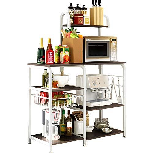 (FKUO 3-Tier Kitchen Utility Microwave Oven Stand Storage Cart Workstation Shelf Kitchenware storage rack seasoning storage shelf (Black walnut, 9042131CM))