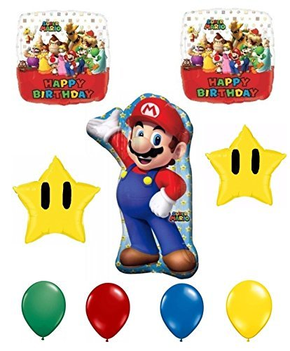 Super Mario Bros Happy Birthday Balloon Decoration Kit by Anagram (Pinata Star Mario Super)