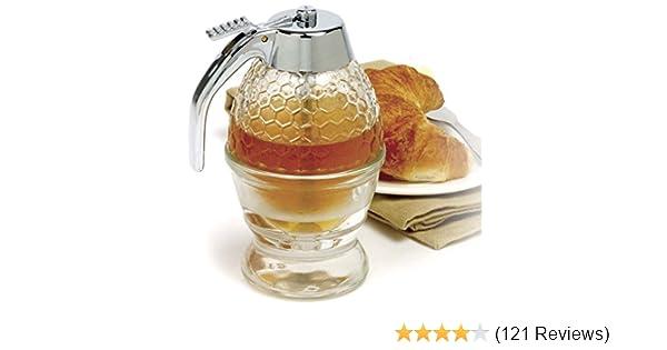 Norpro Premium Honey Syrup Dispenser Pot Jar 1 Cup Glass Bee Hive Trigger stand