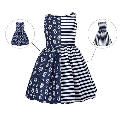 kantann Girls Reversible Dress Floral Stripe Cotton Casual Swing Sleeveless Party Dresses Girls by kantann