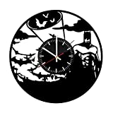 Welcome Everyday Arts Batman Figure Vinyl Record Wall Clock - Get unique nursery room wall decor - Gift ideas for friends, teens, men – DC Comics Unique Modern Art