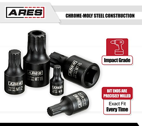 ARES 70612 | 9-Piece Impact Stubby Triple Square Bit Socket Set | Chrome-Moly Steel and Manganese Phosphate Coating Designed for Impact Use | Sizes Range from M4 to MT18 on a Reusable Storage Rail by ARES (Image #2)