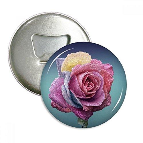 Dark Pink Roses Dim Flower Round Bottle Opener Refrigerator Magnet Badge Button 3pcs (Dark Pink Bottle Opener)