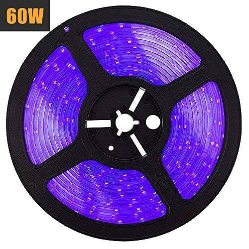 Zerich LED UV Black Light Strip, 60 Watts 16.4Ft/5M 2835 SMD 300LEDs Flexible Waterproof IP65 LED Light Strip with DC 24V 3A Power Supply #3167 -