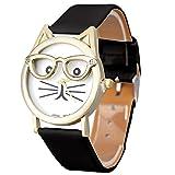 Lookatool® Cute Glasses Cat Women Analog Quartz Dial Wrist Watch (Black)