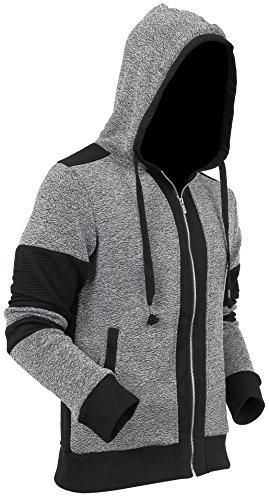 Casual Fleece Biker Hoodie Sweatshirts Zip Up Active Slim Fit Series (Large, ()