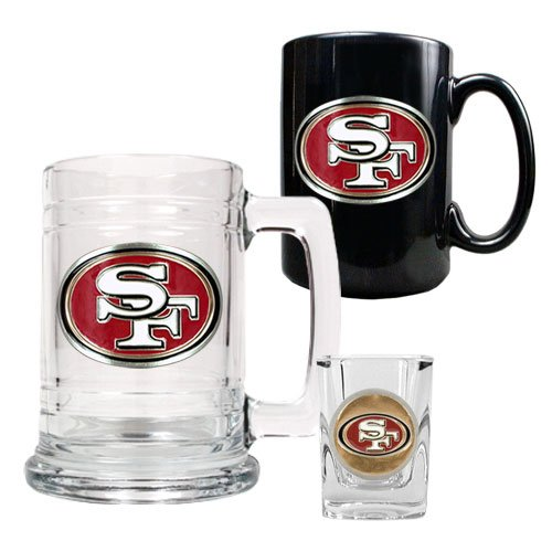 - NFL San Francisco 49ers 15-Ounce Tankard, 15-Ounce Ceramic Mug & 2-Ounce Shot Glass Set - Primary Logo