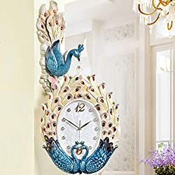 Fengfeng Double Sided Clocks, Silent Coloured Peacock Decoration Two-Sided Shell Art Clock Face Plastic Decorative Wall Bell European Retro Living Room Wall Clock