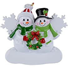 Snowman Family of 2 Personalized Ornament