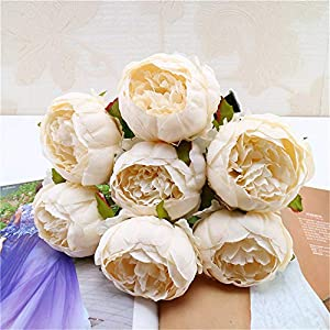 Allywit Artificial Flowers Peony Bouquet Fake Flowers Silk Plastic 7 Heads Bridal Wedding Bouquet for House Office Garden Patio Yard Indoor Outdoor 100