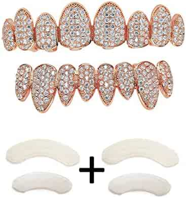 TSANLY Gold Grillz Iced OutCZ Diamond Top&Bottom SetGrill 24K Gold Plated Macro Pave Teeth Grills - Extra Molding Bars Included