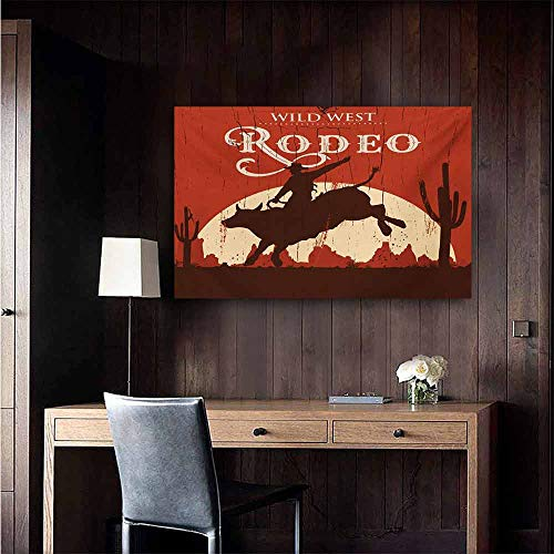 duommhome Vintage Wall Art Decor Poster Painting Rodeo Cowboy Riding Bull Wooden Old Sign Western Wilderness at Sunset Image Decorations Home Decor 47