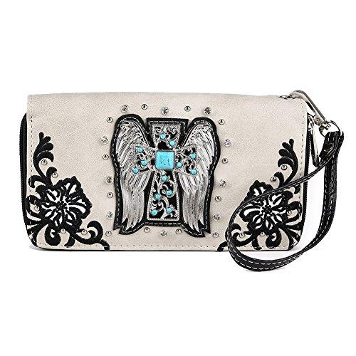 Blancho Bedding Womens [Angel] PU Leather Wristlet Wallet Zipper Purse Card Holder Black - Angel Handbag Holder