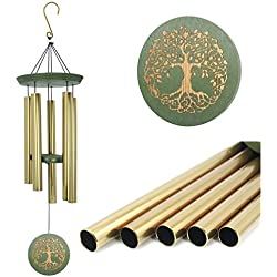 "Wind Chimes Outdoor Deep Tone,36""Large Memorial Wind Chimes Amazing Grace with 5 Tuned Metal Tubes,Sympathy Wind Chimes Gifts for Garden Home Yard Hanging Decor,Golden"