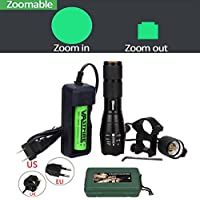 VASTFIRE 350 yard Zoomable Green Light Flashlight Set for...